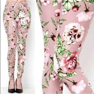 Floral Blush Pink Leggings Brushed OS
